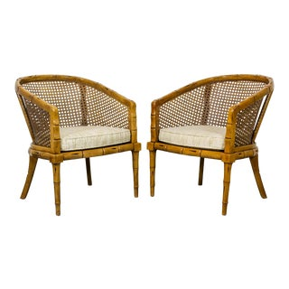 1960s Vintage Hollywood Regency Faux Bamboo Chairs, Cane Back Chairs For Sale