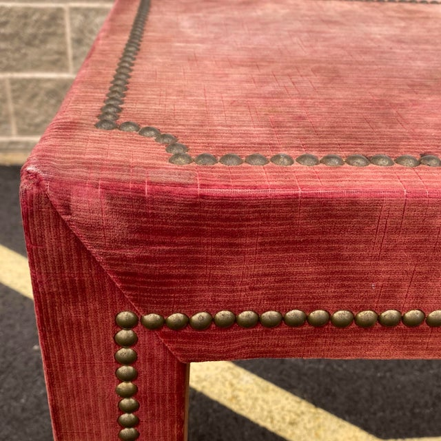 1970s Distressed Velvet Nailhead Parsons Console Table For Sale In Philadelphia - Image 6 of 13