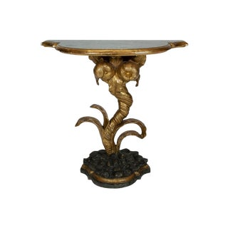18th Century Italian Painted Gilt Wood Console With Faux Green Marble Top For Sale