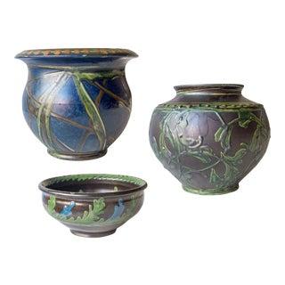 Kähler, Complementary Danish Glazed Stoneware Vases - Set of 3 For Sale