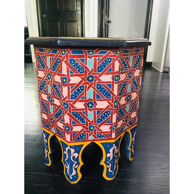 Islamic Moroccan Hexagonal Hand Painted Wooden Side Table For Sale - Image 3 of 8