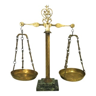 Vintage Italian Brass and Marble Apothecary Scales For Sale
