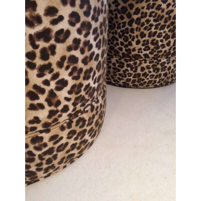 Brown Todd Hase Namesake Leopard Print Ruth Drum Ottomans- A Pair For Sale - Image 8 of 13
