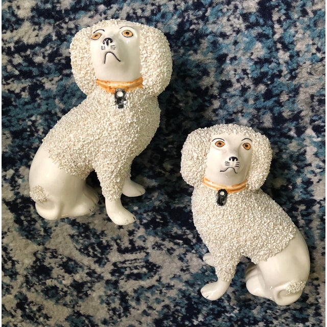 Antique Staffordshire Poodle Dog Figurines- a Pair For Sale - Image 9 of 13