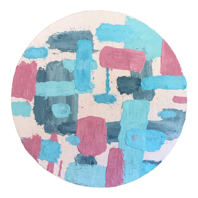 Pine Disc & Plaster Abstract Painting For Sale