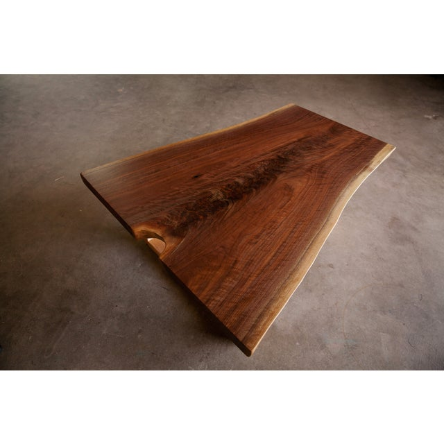 Live Edge Walnut Coffee Table With Maple Base - Image 3 of 6