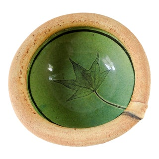 Pottery Leaf Bowl by Mary Fischer For Sale