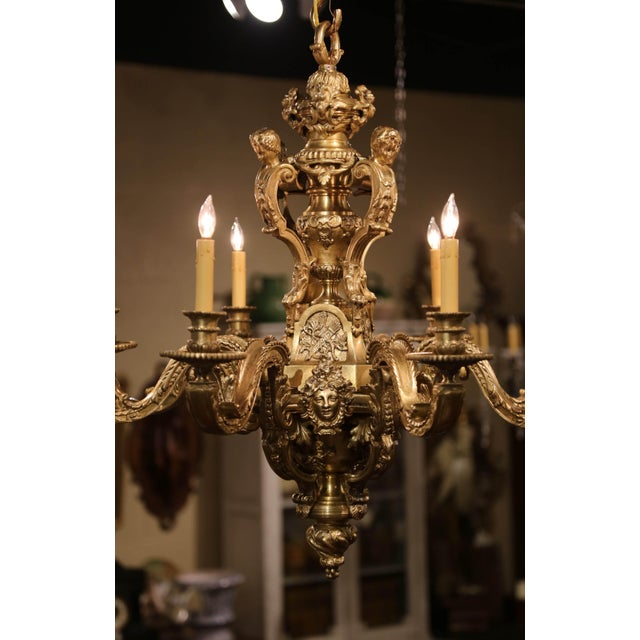 19th Century French Louis XV Patinated Bronze Dore Eight-Light Chandelier For Sale - Image 9 of 12