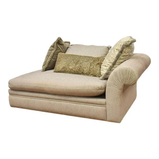 A. Rudin Upholstered Chaise Lounge Sofa With Fortuny Throw Pillows For Sale