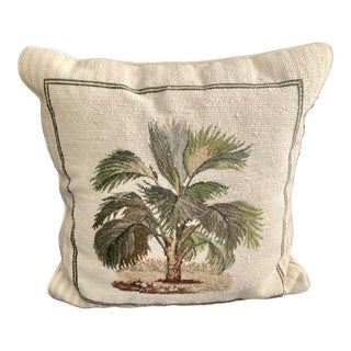 Palm Tree Cross Stitch Square Pillow With Creek Velvet Back For Sale