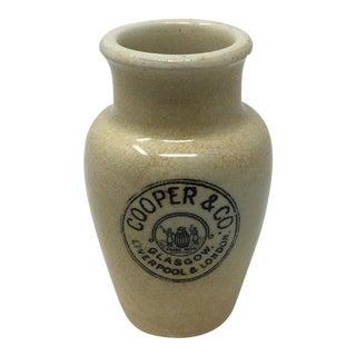Antique English Advertising Cream Pot, Cooper & Co. Glasgow, Liverpool & London For Sale