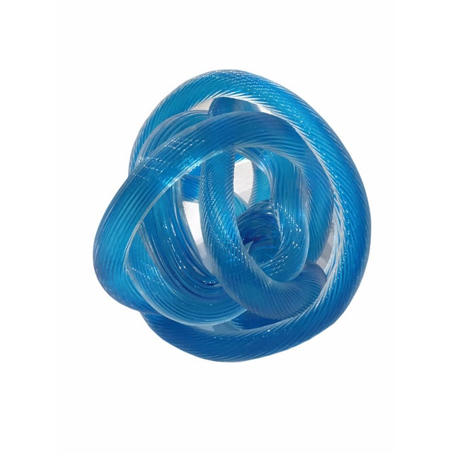 1980s Vintage Abstract Italian Murano Twisted Glass Sculpture For Sale - Image 5 of 5