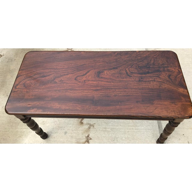 Brown Antique Hand Hewn Rosewood Library Console Table For Sale - Image 8 of 9