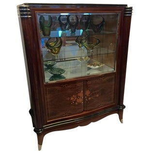 Jules Leleu Style French Art Deco Vitrine Bar For Sale
