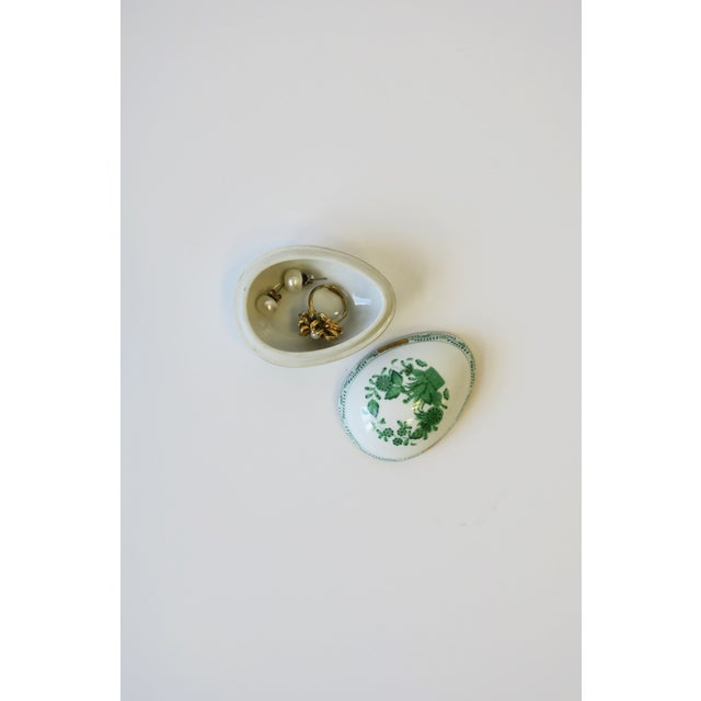 Herend White Green Gold Porcelain Egg-Shaped Jewelry Box For Sale - Image 9 of 13