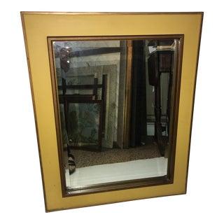 Vintage Mid Century Wood Framed Beveled Mirror For Sale