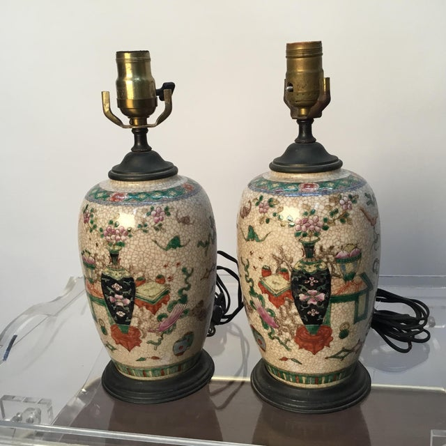 19th Century Antique Asian Hand Painted Table Lamps - a Pair For Sale - Image 10 of 13