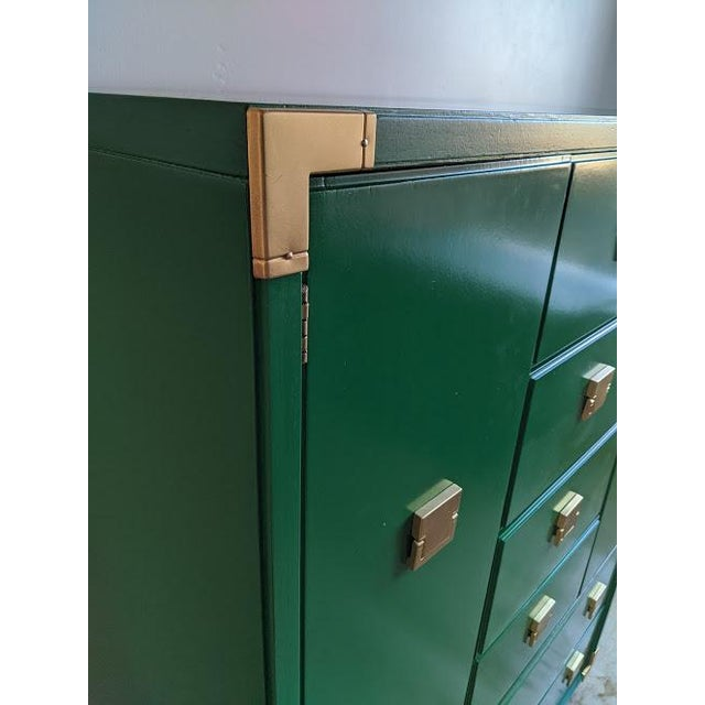 Wood 1970s Thomasville Campaign Gloss Green Highboy Dresser For Sale - Image 7 of 10