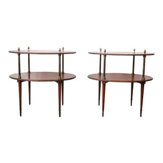 Antique 1900s Walnut Side Tables - a Pair