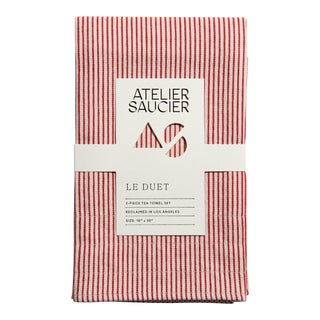 Candy Stripe Red & White Tea Towels - A Pair For Sale