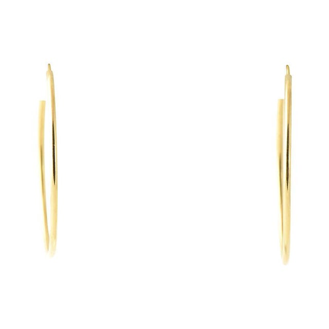 20th Century Italian 18k Gold Hoop Earrings - a Pair For Sale - Image 4 of 8