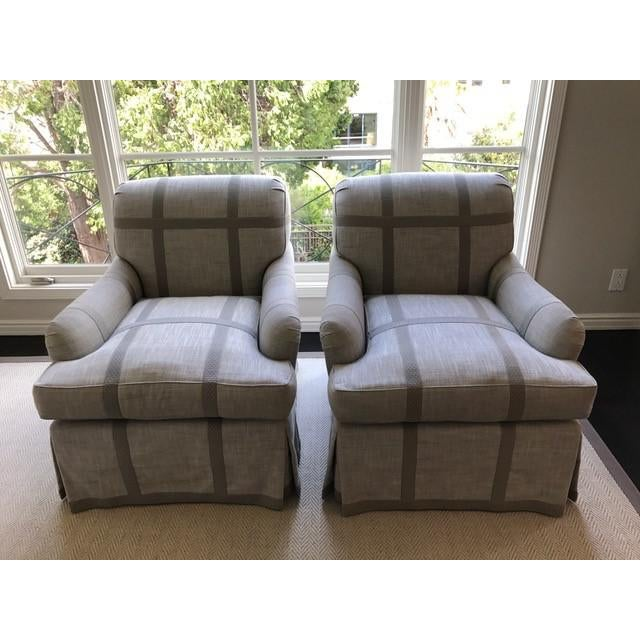 Unique Upholstered Chairs: Gray Custom Upholstered Club Chairs - A Pair