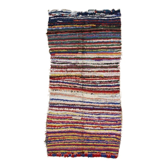 Moroccan Boucherouite Hand-Made Rug - 4' x 9' For Sale