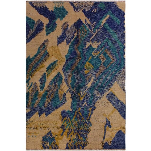 Balouchi Albertha Blue Wool Rug - 4′10″ × 6′6″ For Sale