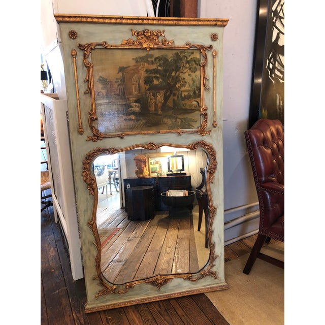19th Century Painted French Trumeau Mirror For Sale - Image 10 of 10