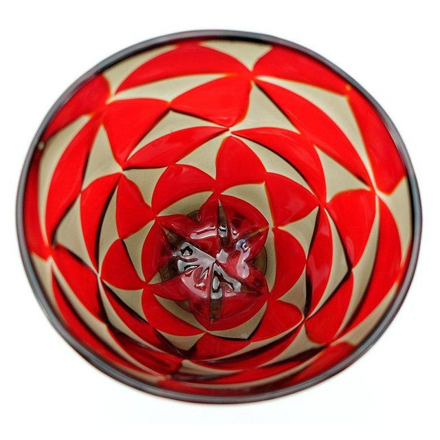 Modern Barovier & Toso Red Mosaic Triangle Murano Glass Vase For Sale - Image 3 of 7