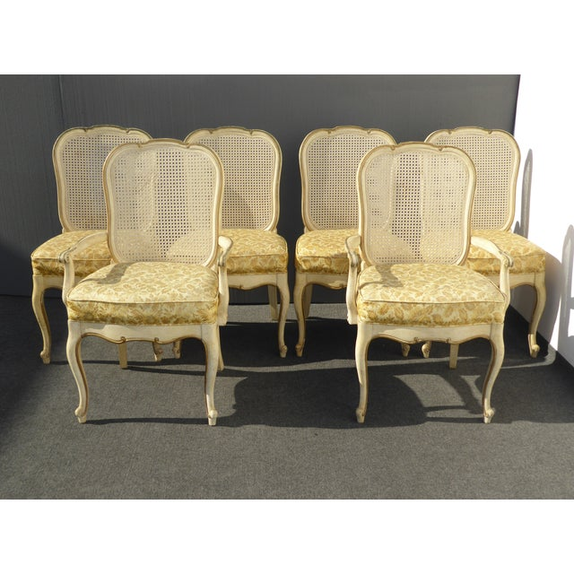 Set of Six Vintage Thomasville French Country Provincial off white Cane Dining Chairs - AS IS Condition. Gorgeous chairs...