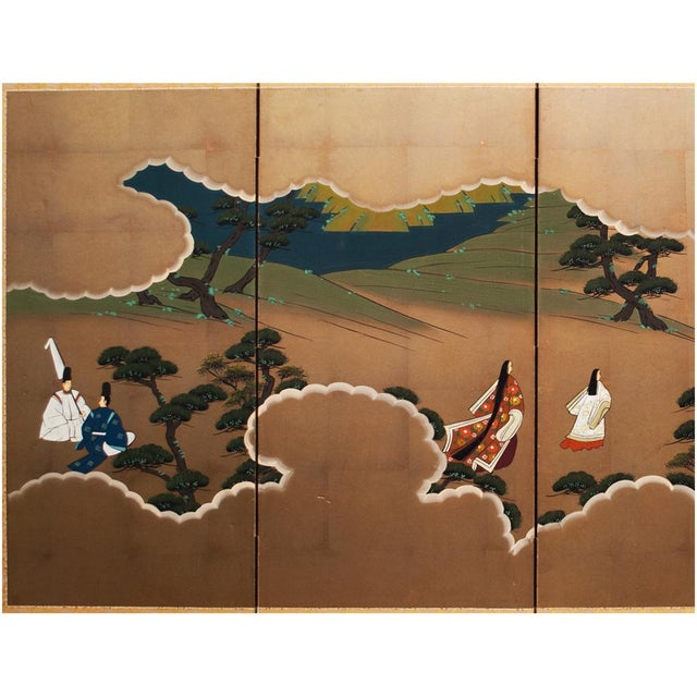 A gorgeous vintage Japanese Byobu Screen depicting a scene from The Tale of Genji, an important novel in 4 parts, by...