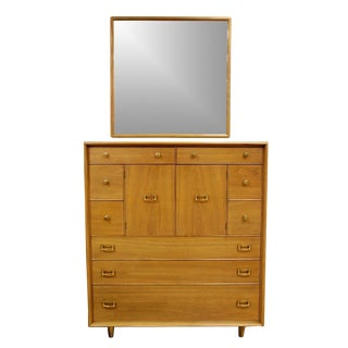 Mid-Century Modern Paul Frankl Highboy Dresser & Mirror Satin Birch & Brass For Sale
