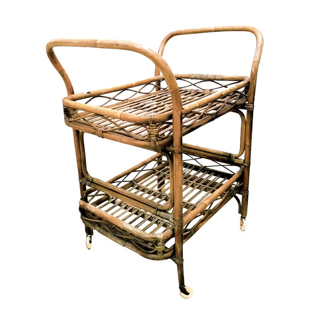 1950s Boho Chic Rattan Bamboo Rolling Serving Cart For Sale