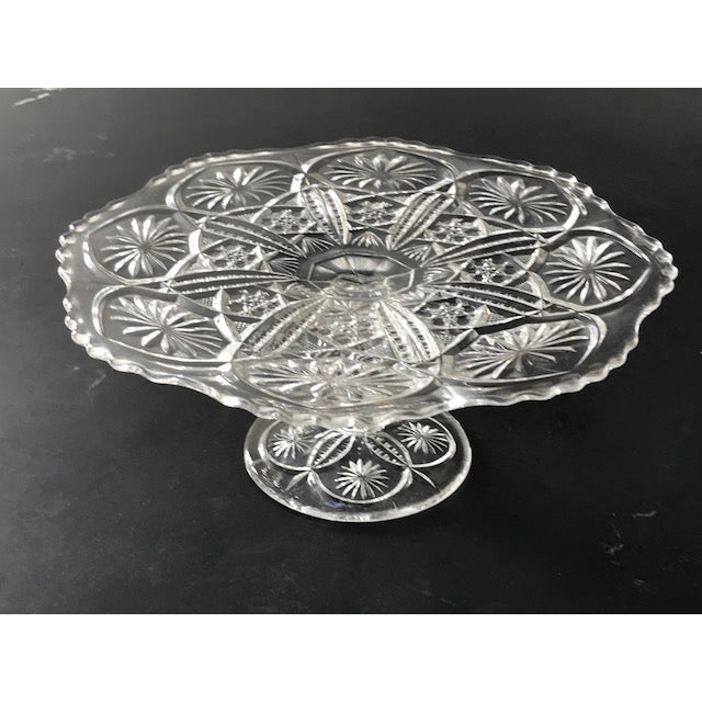 Vintage 1960's Imperial Cut Glass Cake Stand For Sale - Image 5 of 7
