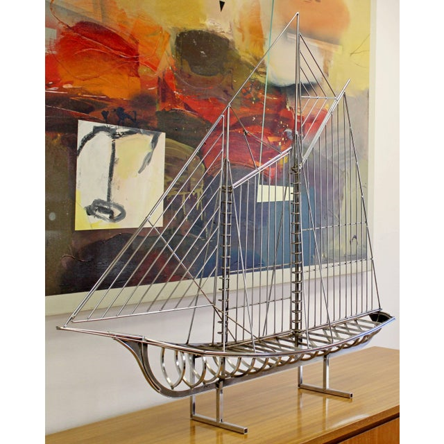 Mid-Century Modern Mid-Century Modern Chrome Sailboat Table Sculpture Signed Curtis Jere, 1970s For Sale - Image 3 of 9