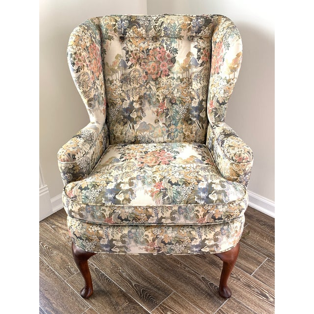 Custom Floral Wingback Chair For Sale - Image 12 of 12