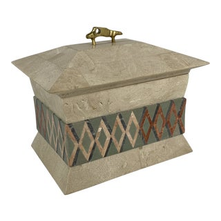 Tessellated Stone Box With Inlay Pattern and Brass Handle For Sale