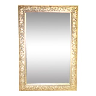 Art Deco Silver Wood Wall Mirror For Sale