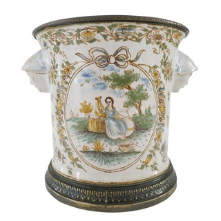 Mid 19th Century Vintage French Silver Mounted Faience Cache Pot Vase For Sale