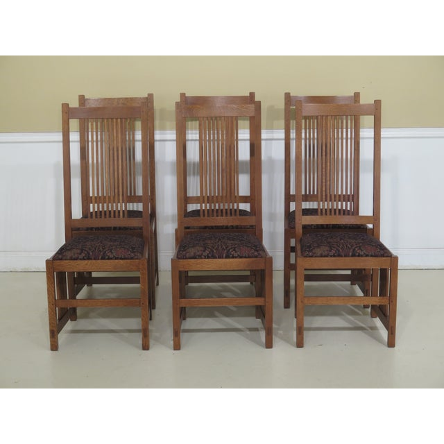 Stickley Mission Oak Arts & Crafts Dining Chairs- Set of 6 For Sale - Image 12 of 12