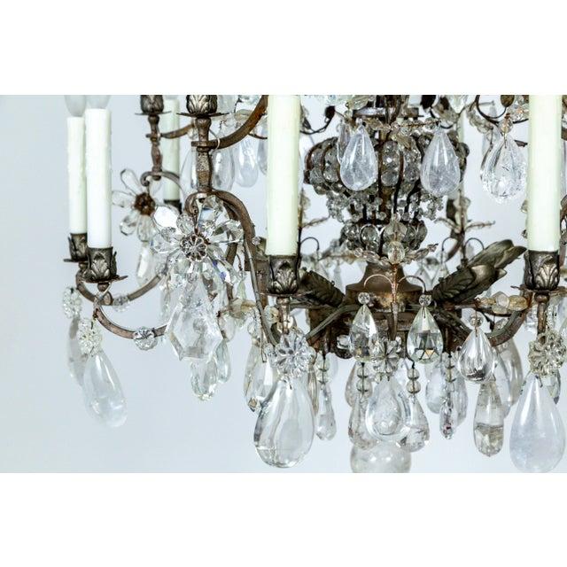 Rare Large Silver Gilt Bronze Rock Crystal Flower Bouquet 20-Light Chandelier For Sale - Image 10 of 13