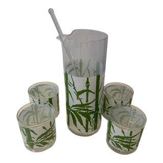 1950s Georges Briard Bamboo Pitcher and Set of Glasses - 6 Pieces For Sale