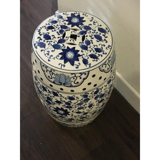 Blue and White Asian Garden Stool - Image 3 of 5