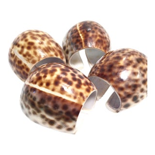 Cowrie Sea Shell Leopard Print Napkin Rings, Set of 4