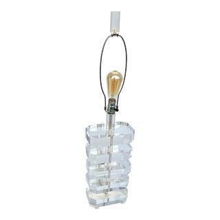 Vintage Lucite Block Lamp After Karl Springer For Sale