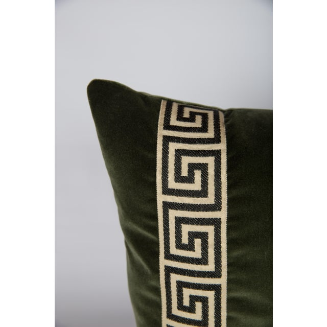 Moss Velvet Greek Key Pillows - a Pair - Image 3 of 5