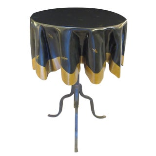 Whimsical French Fiberglass 'Drapery' Table With Iron Tripod Base For Sale