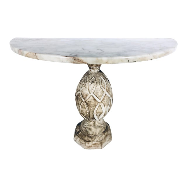 Mediterranean Pineapple Sculpted Demi Lune Table With Marble Top, 1970s For Sale