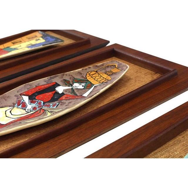 Mid-Century Modern Set of Three Framed Art Tiles For Sale - Image 3 of 9